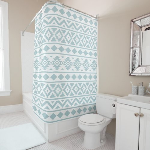 Aztec Essence Ptn III Duck Egg Blue on White Shower Curtain