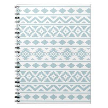 Aztec Themed Aztec Essence Ptn III Duck Egg Blue on White Spiral Notebook