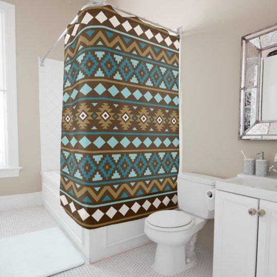 Aztec Essence Ptn III Teals Gold Cream Brown Shower Curtain