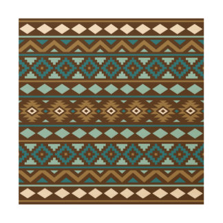 Aztec Essence Ptn III Teals Gold Cream Brown Wood Wall Art