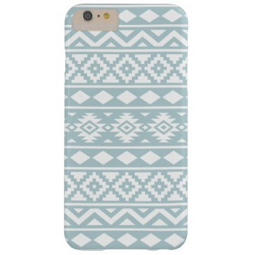 Aztec Themed Aztec Essence Ptn III White on Duck Egg Blue Barely There iPhone 6 Plus Case