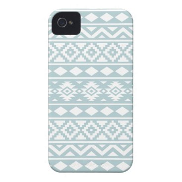 Aztec Themed Aztec Essence Ptn III White on Duck Egg Blue iPhone 4 Cover