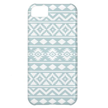 Aztec Themed Aztec Essence Ptn III White on Duck Egg Blue iPhone 5C Cover