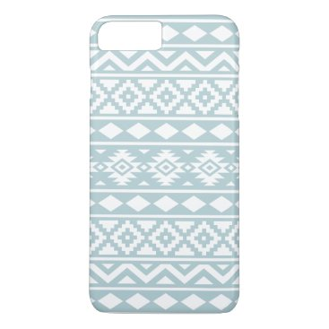 Aztec Themed Aztec Essence Ptn III White on Duck Egg Blue iPhone 7 Plus Case