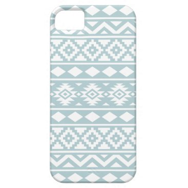Aztec Themed Aztec Essence Ptn III White on Duck Egg Blue iPhone SE/5/5s Case