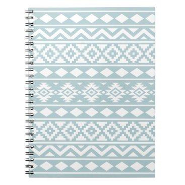 Aztec Themed Aztec Essence Ptn III White on Duck Egg Blue Notebook