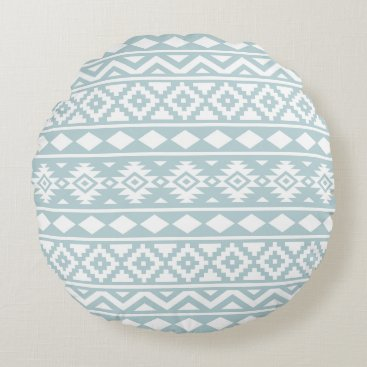 Aztec Themed Aztec Essence Ptn III White on Duck Egg Blue Round Pillow