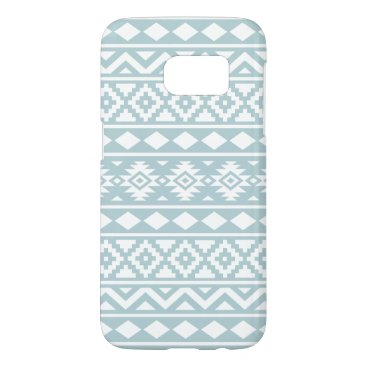 Aztec Themed Aztec Essence Ptn III White on Duck Egg Blue Samsung Galaxy S7 Case