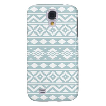 Aztec Themed Aztec Essence Ptn III White on Duck Egg Blue Samsung S4 Case