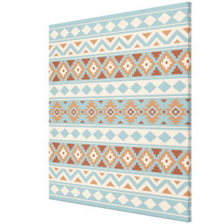 Aztec Essence Ptn IIIb Blue Cream Terracottas Canvas Print
