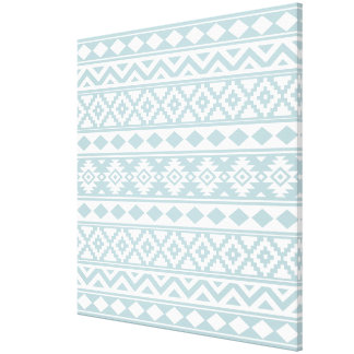 Aztec Essence Ptn IIIb Duck Egg Blue & White Canvas Print