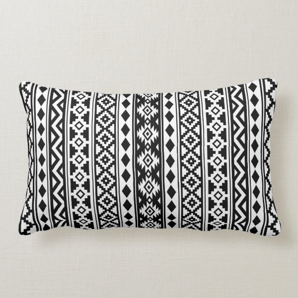 Aztec Essence (V) Pattern IIb Black & White Lumbar Pillow