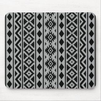 Aztec Essence (V) Pattern III Black on Grey Mouse Pad