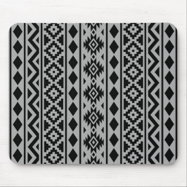 Aztec Themed Aztec Essence (V) Pattern III Black on Grey Mouse Pad