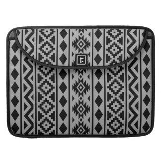Aztec Essence (V) Pattern III Black on Grey Sleeve For MacBook Pro