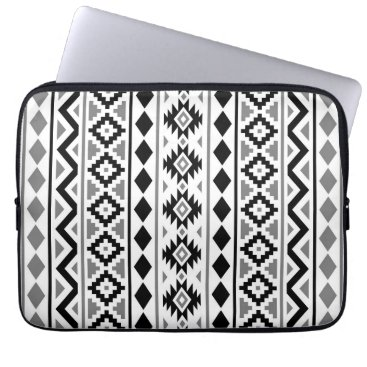 Aztec Themed Aztec Essence (V) Pattern III Black White Gray Computer Sleeve