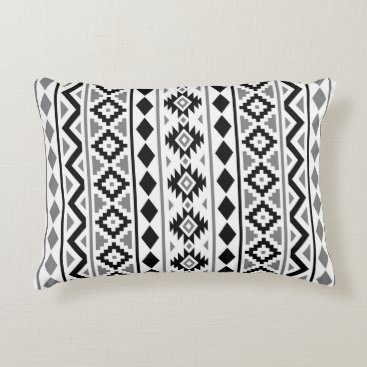 Aztec Themed Aztec Essence (V) Pattern III Black White Gray Decorative Pillow