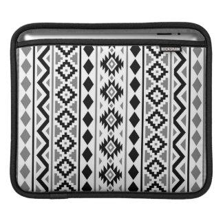 Aztec Essence (V) Pattern III Black White Gray iPad Sleeve