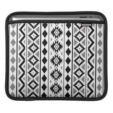Aztec Themed Aztec Essence (V) Pattern III Black White Gray iPad Sleeve