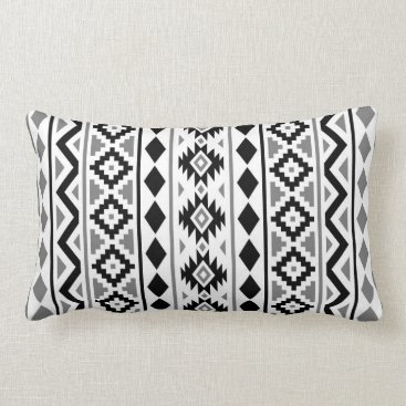 Aztec Themed Aztec Essence (V) Pattern III Black White Gray Lumbar Pillow