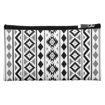 Aztec Themed Aztec Essence (V) Pattern III Black White Gray Makeup Bag