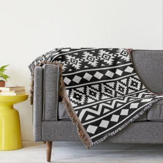 aztec essence v pattern iii white on black throw blanket