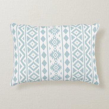 Aztec Themed Aztec Essence (v) Ptn III Duck Egg Blue on White Accent Pillow
