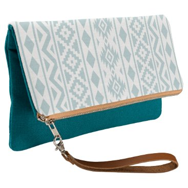 Aztec Themed Aztec Essence (v) Ptn III Duck Egg Blue on White Clutch