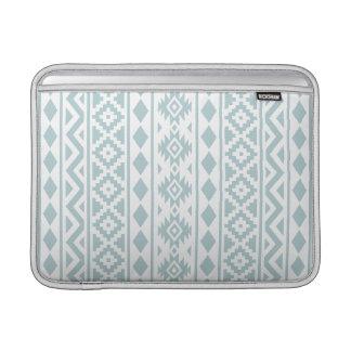 Aztec Essence (v) Ptn III Duck Egg Blue on White Sleeve For MacBook Air