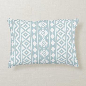 Aztec Themed Aztec Essence (v) Ptn III White on Duck Egg Blue Accent Pillow