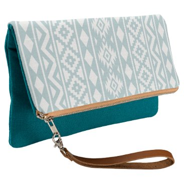 Aztec Themed Aztec Essence (v) Ptn III White on Duck Egg Blue Clutch