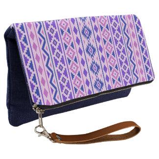 Aztec Essence Vertical Ptn II Pinks Blue Purple Clutch