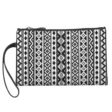 Aztec Themed Aztec Essence Vertical Ptn IIb Black & White Wristlet
