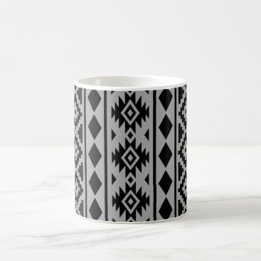 Aztec Themed Aztec Essence Vertical Ptn III Black on Grey Coffee Mug