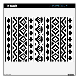 "Aztec Essence Vertical Ptn III Black on White 11"" MacBook Air Decal"