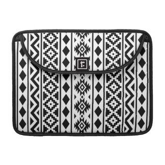 Aztec Essence Vertical Ptn III Black on White MacBook Pro Sleeve