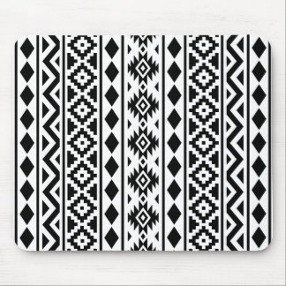 Aztec Essence Vertical Ptn III Black on White Mouse Pad