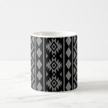 Aztec Themed Aztec Essence Vertical Ptn III Grey on Black Coffee Mug