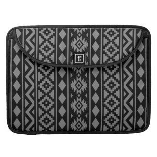 Aztec Essence Vertical Ptn III Grey on Black MacBook Pro Sleeve