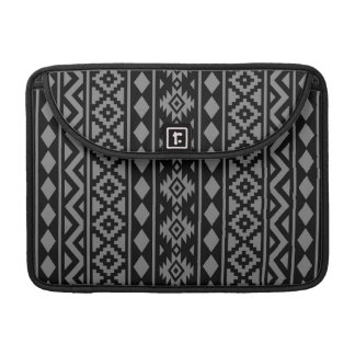 Aztec Essence Vertical Ptn III Grey on Black Sleeve For MacBooks