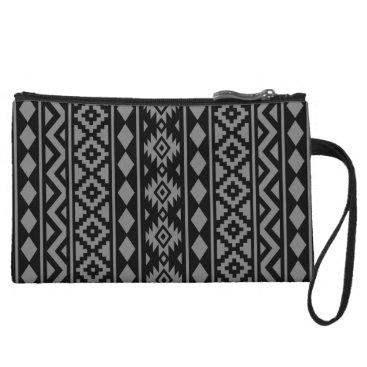 Aztec Themed Aztec Essence Vertical Ptn III Grey on Black Wristlet Wallet