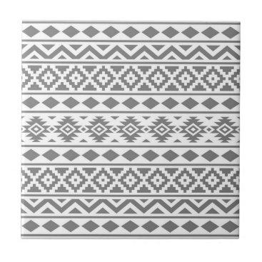 Aztec Themed Aztec Essence Vertical Ptn III Grey on White Ceramic Tile
