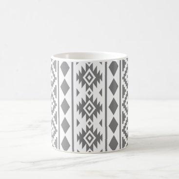 Aztec Themed Aztec Essence Vertical Ptn III Grey on White Coffee Mug