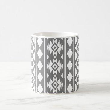 Aztec Themed Aztec Essence Vertical Ptn III White on Grey Coffee Mug