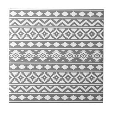 Aztec Themed Aztec Essence Vertical Ptn III White on Grey Tile