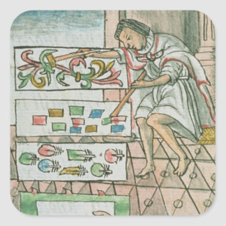 Aztec feather artisan square sticker