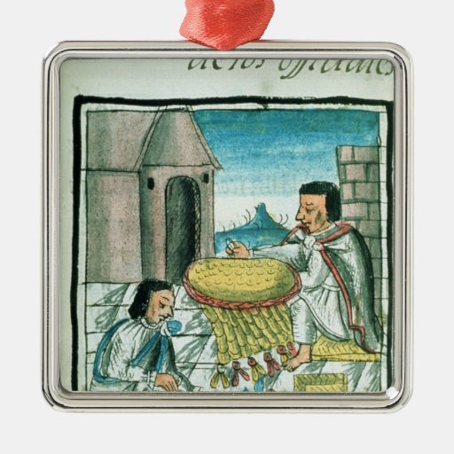 Aztec feather artisans at work square metal christmas ornament
