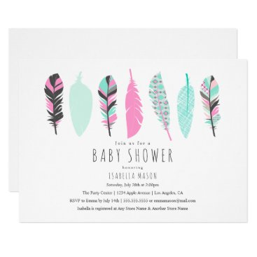 PinkMoonPaperie Aztec Feathers   Baby Shower Invitation