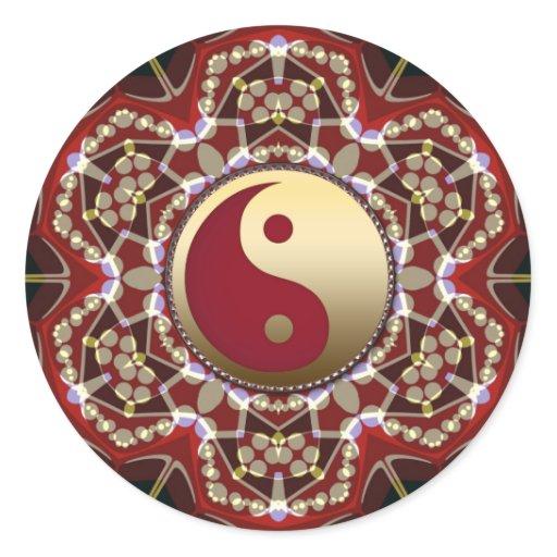 Aztec Geometric Golden Yin Yang Sticker