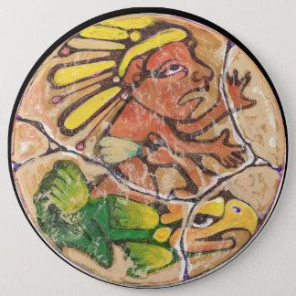 Aztec God colour - Amazing Mexico Magnet Pinback Button